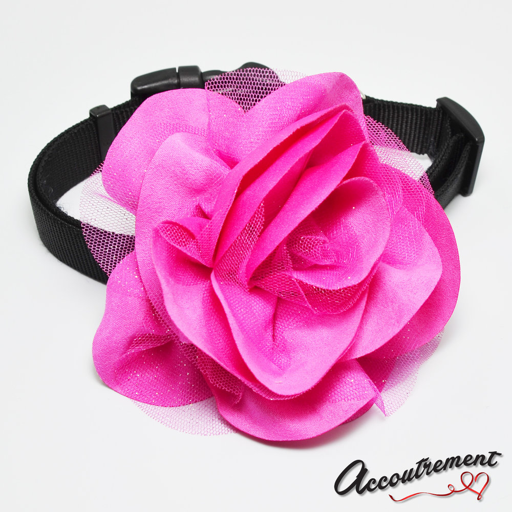 accoutrement.store flower attachment - suede & glitter - hot pink - on collar.jpg