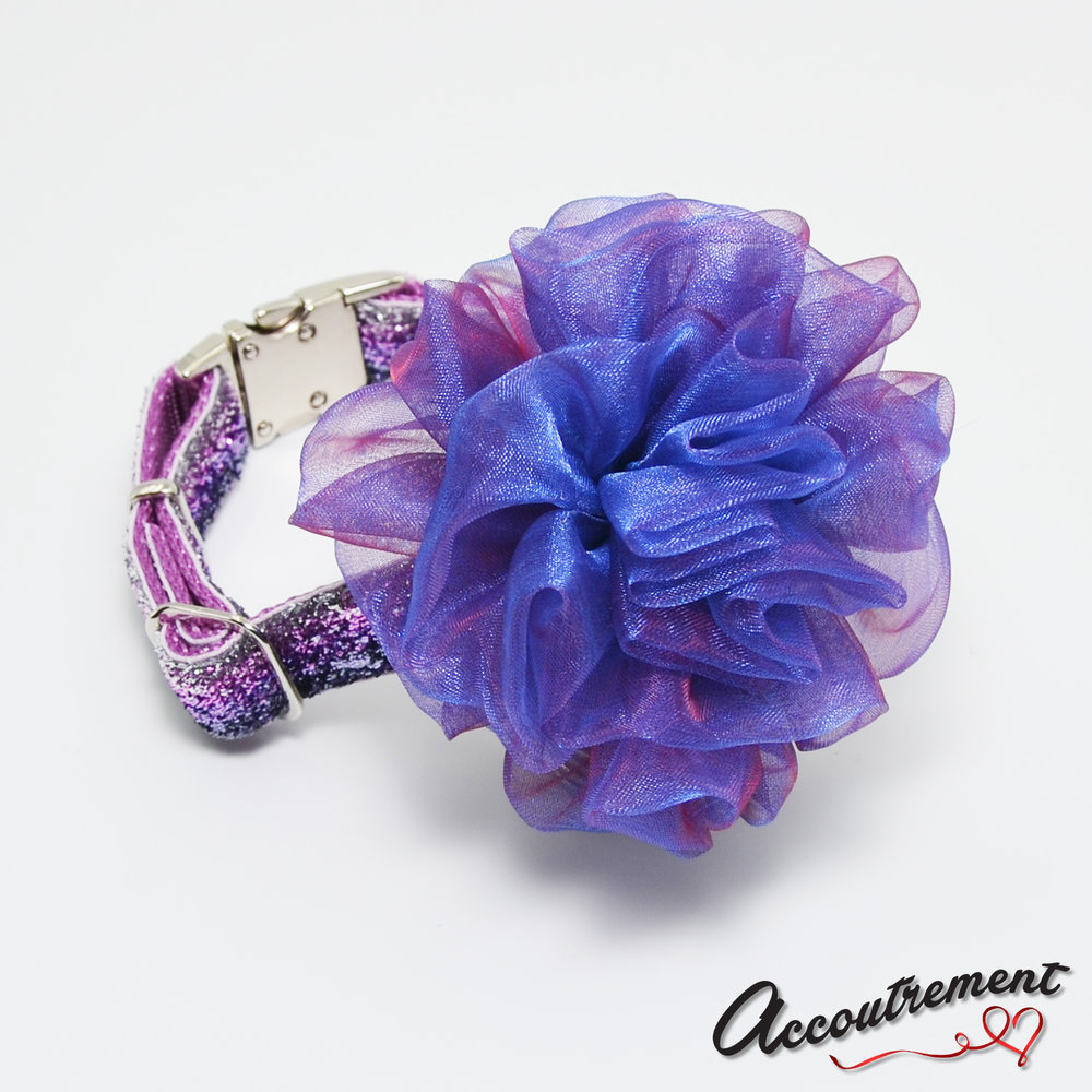 accoutrement.store flower attachment - taffeta iridescent - grape - on collar.jpg