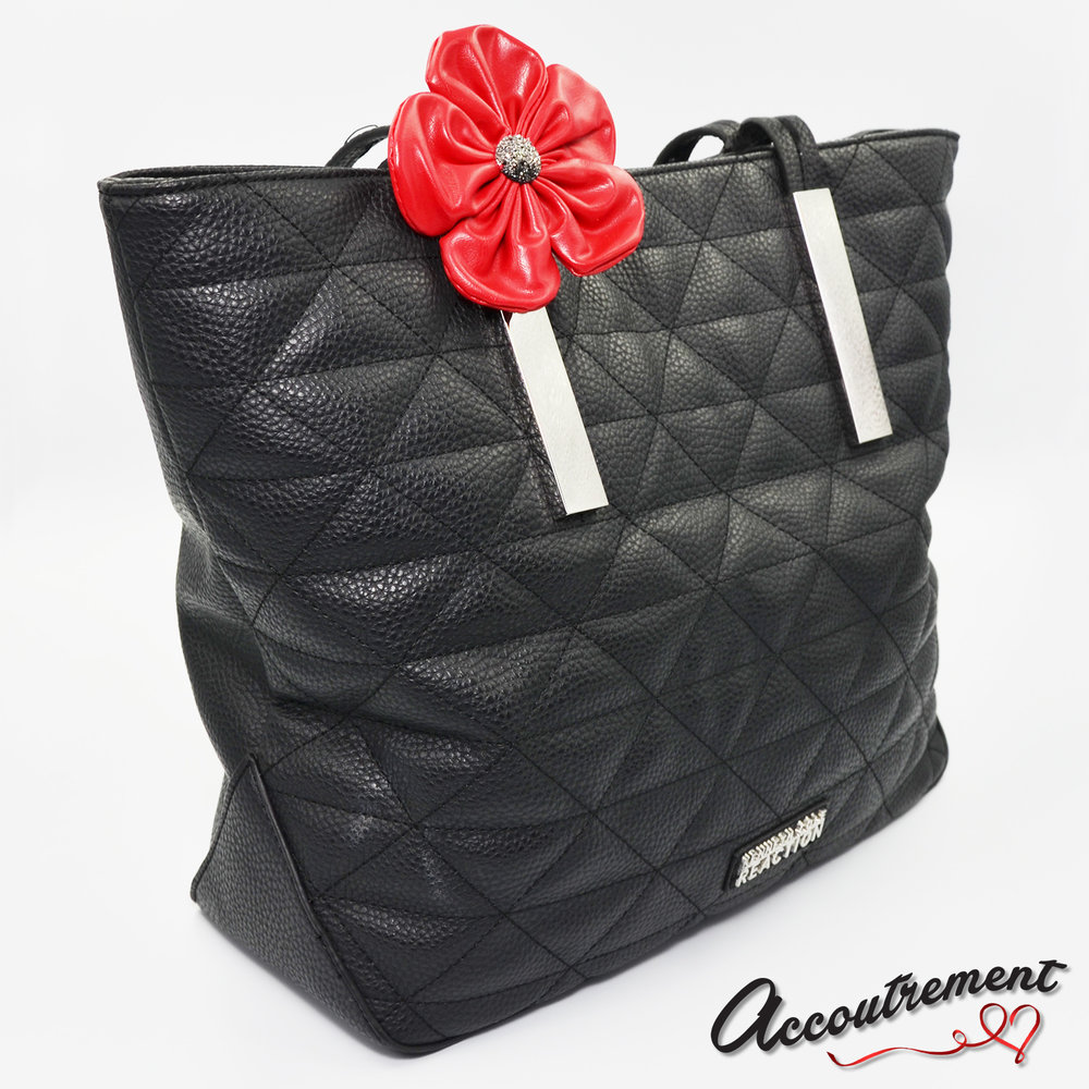 accoutrement.store flower attachment - leather & bling - red - on purse.jpg