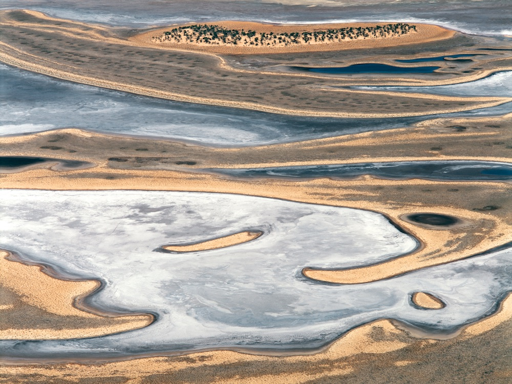 Lake Austin, central Western Australia, Australia.  This natural salt lake has numerous islands with saltbush vegetation.