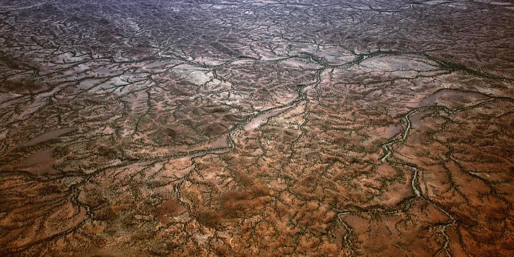 Tributaries, Gascoyne area, Western Australia, Australia.  A pattern of tiny creeks eventually finish up in the Gascoyne River.