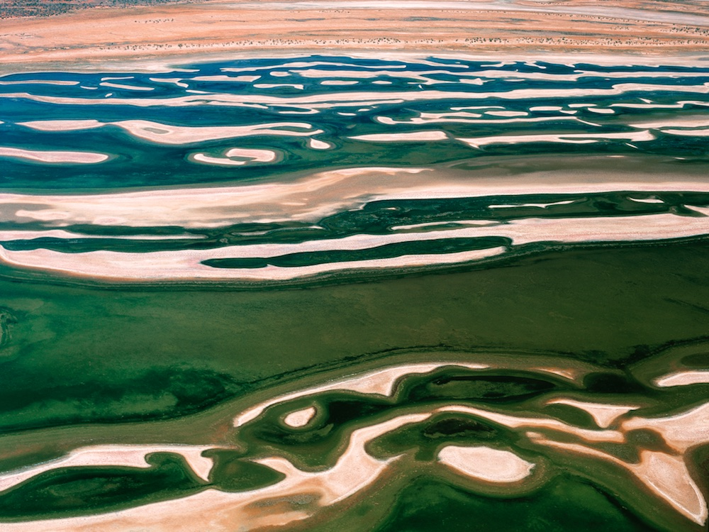 Lake Moore, Western Australia, Australia.  Sand bars stand out on the natural salt lake.