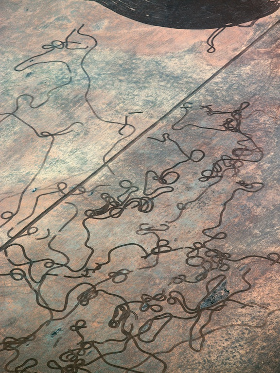 Farmland north of Mullewa, Western Australia, Australia.  Interesting patterns made by criss-crossing the paddock with a tractor while 'stump picking'.