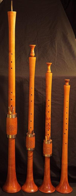 從低到高的文藝復興雙簧管。圖/Martin Chiang 提供