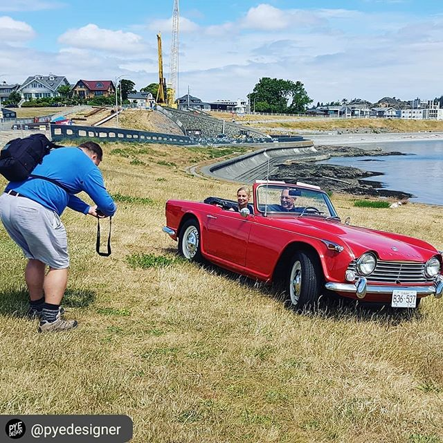 Shooting for our new website with @timothywestcom! 📸 🚗 #britishcars #triumph #sneakpeek #classiccars #victoriabc #photoshoot #bts #behindthescenes