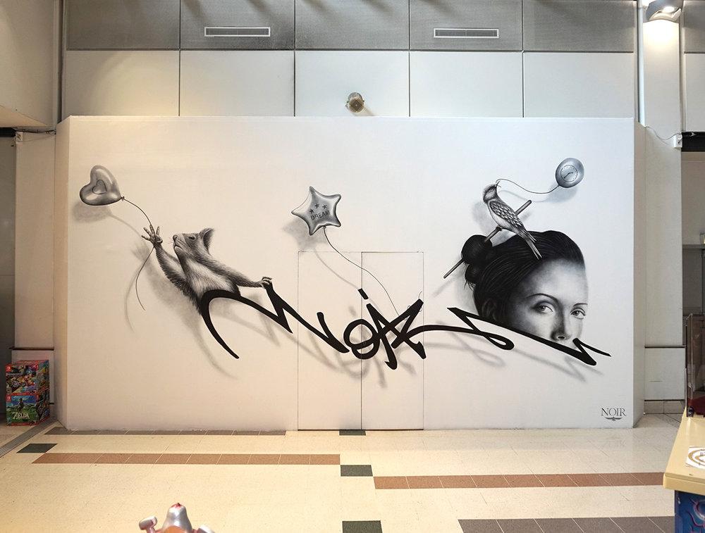 NOIR artist mural - Anamorphose Project - Paris Bercy 2
