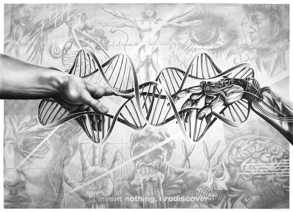 """Infinite Progress"" - Pencil and Charcoal on paper - 150cm x 110cm x 0.1cm"