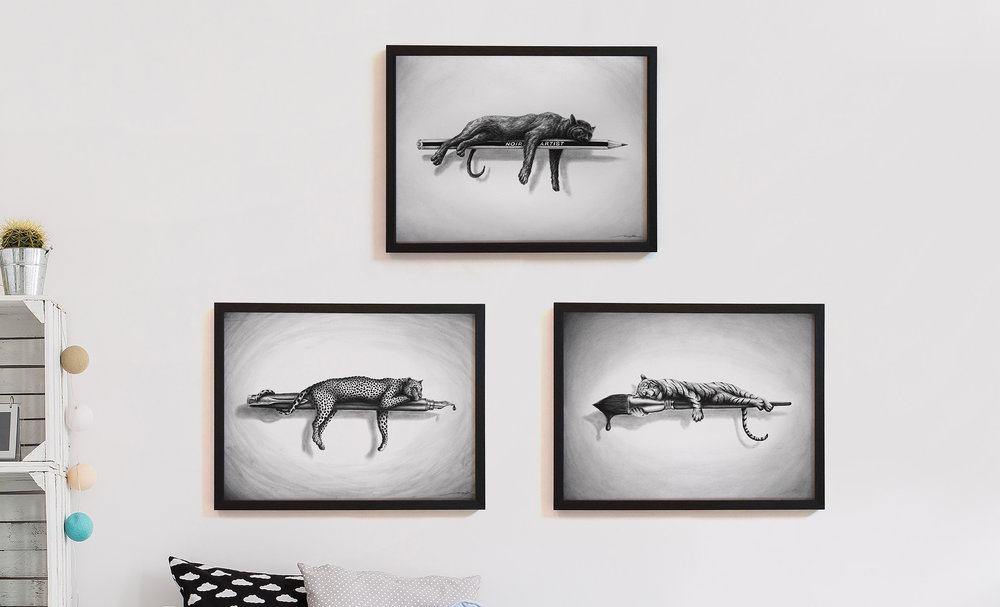 "Drawing ""Don't sleep on your Dream"" - 30 x 40 cm (top (sold) / 50 x 70 cm (left) / 40 x 50 cm - Drawing on paper - *  Available *"