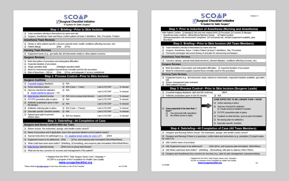 BEFORE: Two versions of the SCOAP Surgical Checklist from 2009.