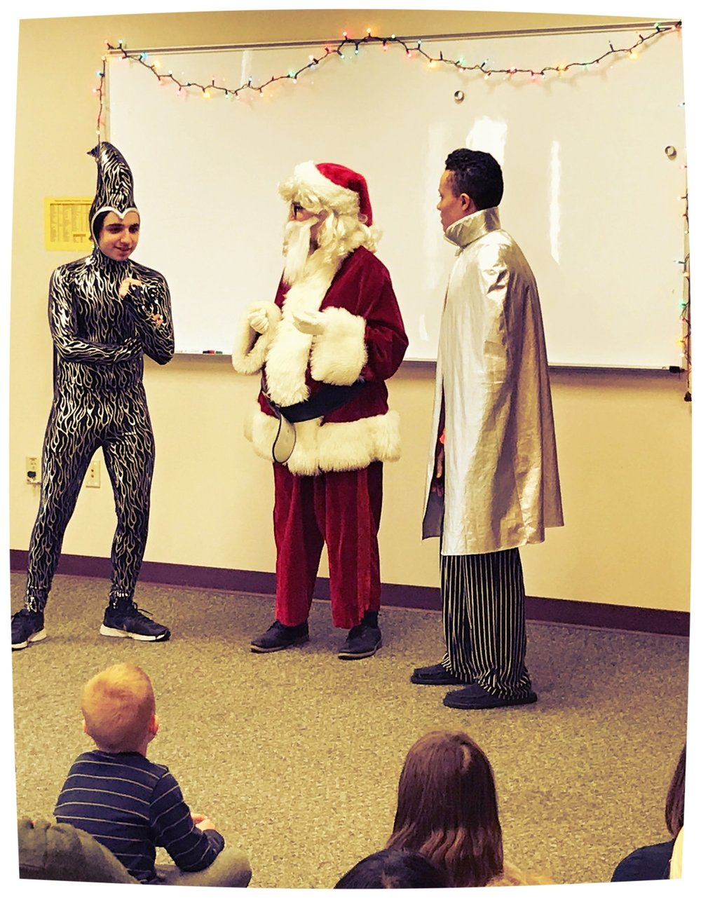 level 2 performing a holiday play at valparaiso public library