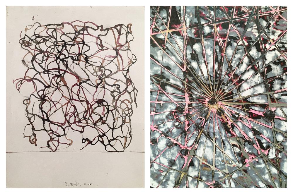 Left image: Brice Marden. Right image: Mark Bradford