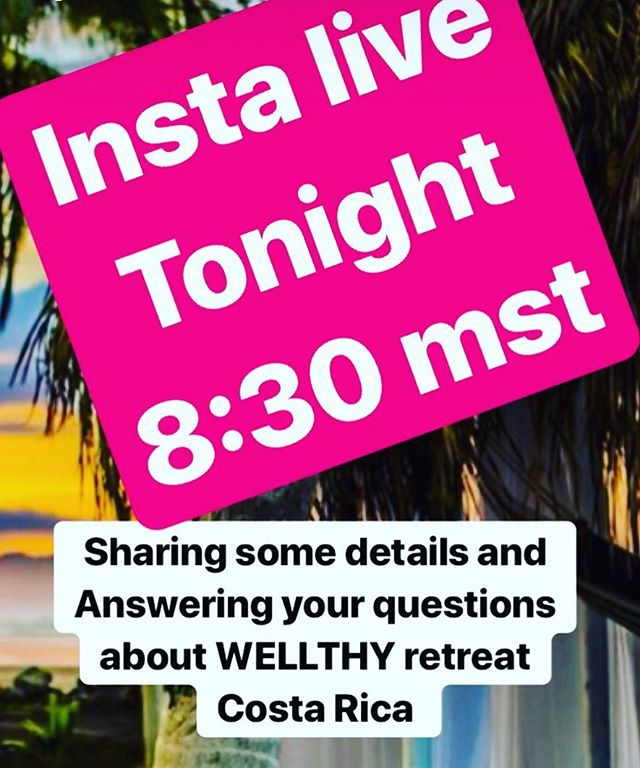 Happy Sunday, #WELLTHY warriors.  We are going live tonight on Instagram to talk about WELLTHY retreats and our upcoming retreat  in Costa Rica. . Join us at 8:30 MST where @wellthylife1111 and @tamfran123 will be sharing some details, answer your questions and you will have the opportunity to participate in a 5 minute mindful meditation you can do anytime and anywhere to ground yourself. . . . . #instalive #wellnesscoach #wellnesswarrior #lawofattraction #wellnessretreat #entrepreneurlife #yogalife #fitlife #adventure #hikingadventures #bestlife #shiftyourlife #positivevibes #travelalberta #manifest #soulpreneur #nomad #lifecoach #costarica #yycliving #momlife #spiritjunkie #meditation #personaldevelopmentcoach