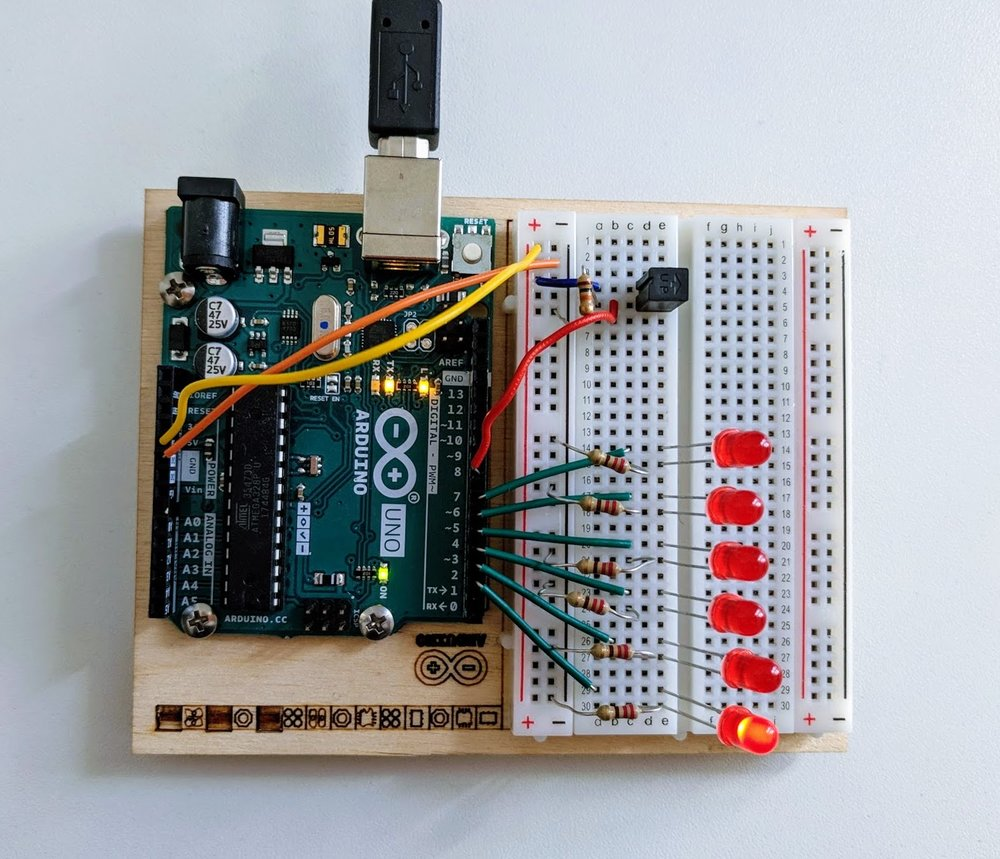 Digital Hourglass - In this project, you use LEDs and a tilt switch to create a breadboard hourglass. I really like this idea since I've been trying out the Pomodoro Technique while coding. It will be more fun to follow along with my own Arduino project!