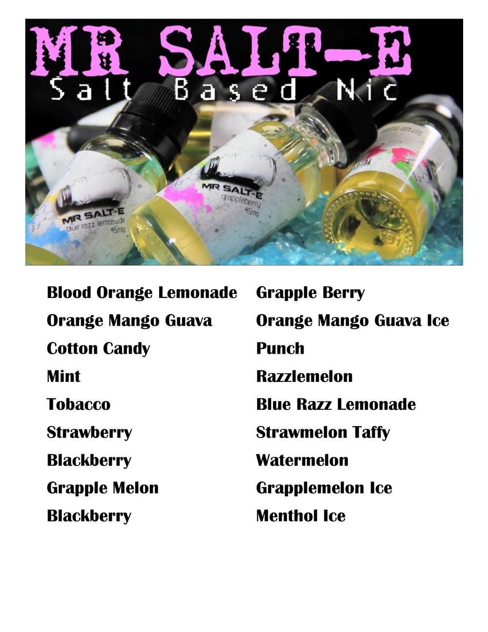 Mr Salt E Chain Vapors Liquid 45mg Nicotine Flavor Sheet For Binder