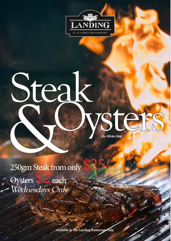"There's something about Steak and Oysters together, which screams ""match made in heaven!"" The original Surf and Turf... from only $25.00, tonight and every Wednesday from 5pm at The Landing!"