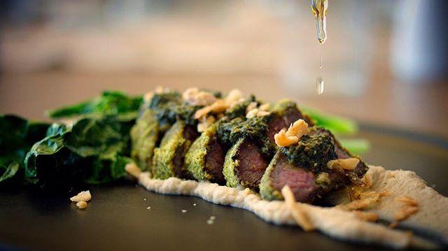 Celeriac | Szechuan Crusted Tri Tip | Mint Chimichurri | Gailan Broccoli | Garlic Chips