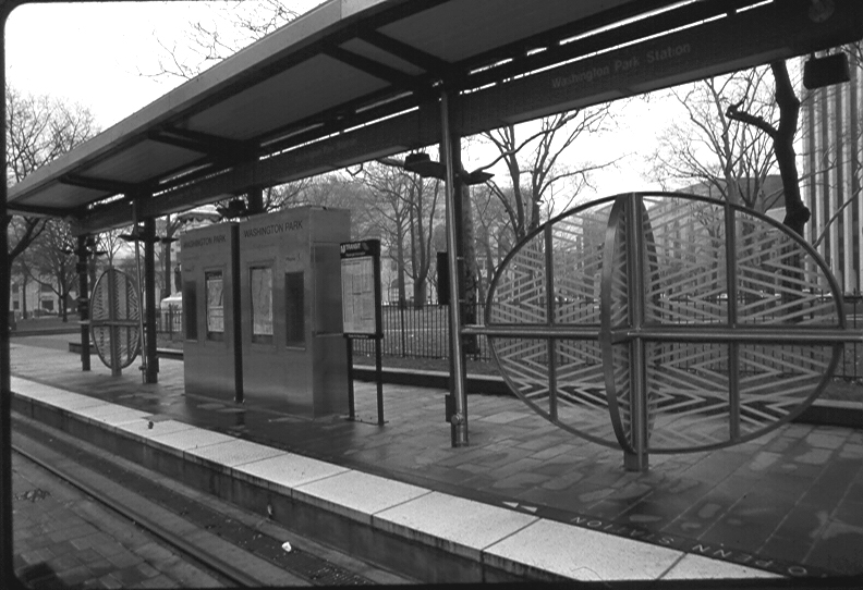 WINDSHIELD - ETCHED GLASS, STAINLESS STEEL - WASHINGTON PRK. STATION - NWK. NJ