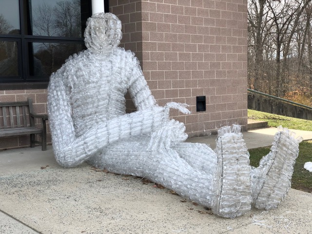 A Tall Drink of Water, 2018 – 28ft tall, 10000 water bottles, The Pingry School, Baskingridge, NJ