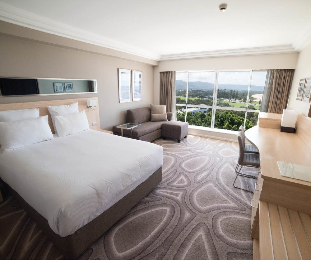 Ocean View Room$229.00 - Offering uninterrupted views of the Wollongong coastline, the Ocean View Rooms take advantage of the hotel's magnificent beach front location.