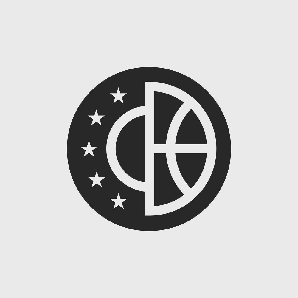 This mark is featured in the Nike Air - Nike Sportswear Basketball, Fall/Holiday collection. It includes 5 stars to represent the 5 starting players on a full basketball team. Also half of the mark represents the lines on a basketball. And additionally, the line in-between the stars and ball is a nod to a free-throw line.