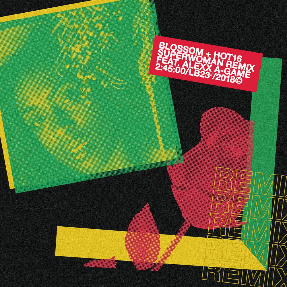 "SuperWoman Remix 7"" vinyl record graphics, type and layout. Photo: Larryl Pitts"