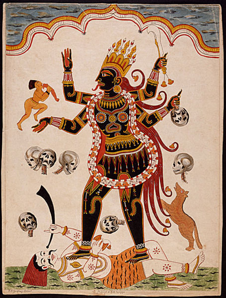 Goddess Kali - Colored etching on paper 1770 Print