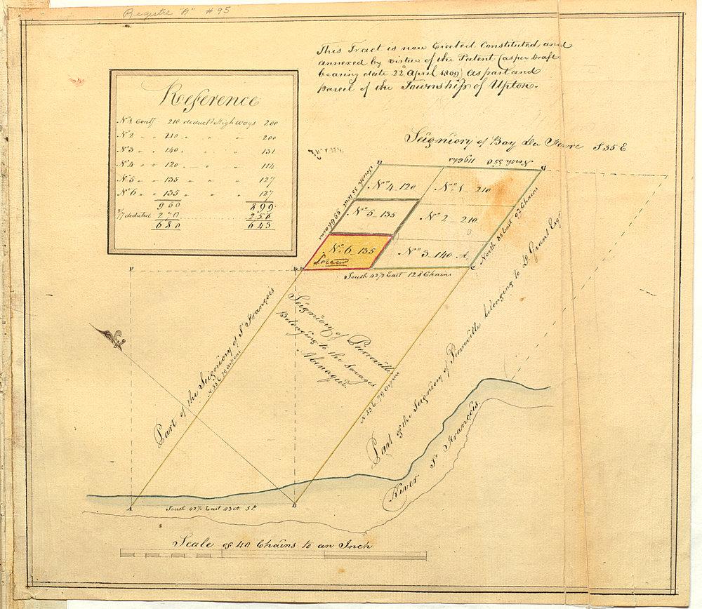 """""""Plan de la seigneurie de Pierreville montrant les terres appartenants à la Mission Abénaki,"""" Jeremiah McCarthy, February 16 1803, BAnQ-QC, Cote: E21,S80,SS1,SSS1,PA095,http://numerique.banq.qc.ca/patrimoine/archives/52327/3472902."""