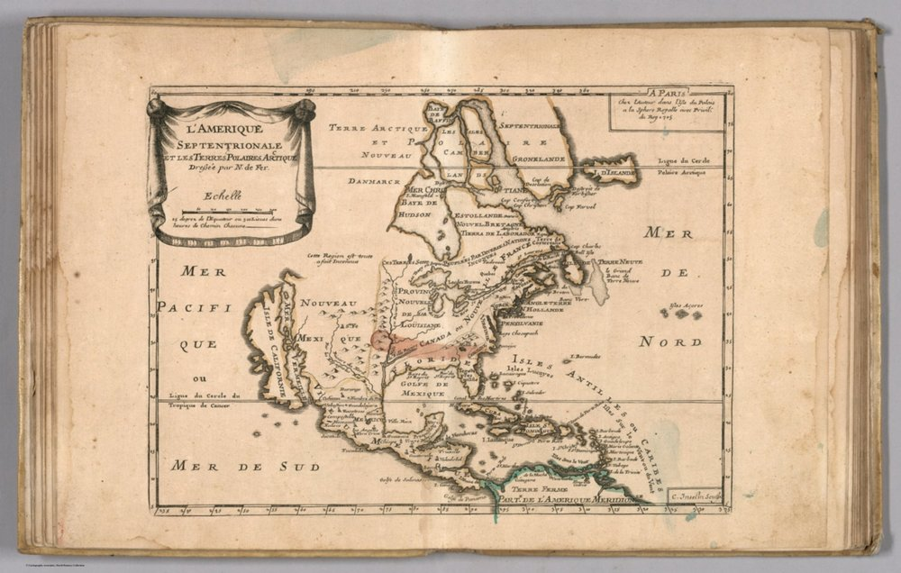 """Amerique Septentrionale et les Terres Polaires Arctique,"" Nicolas de Fer, 1697, David Rumsey Map Collection."