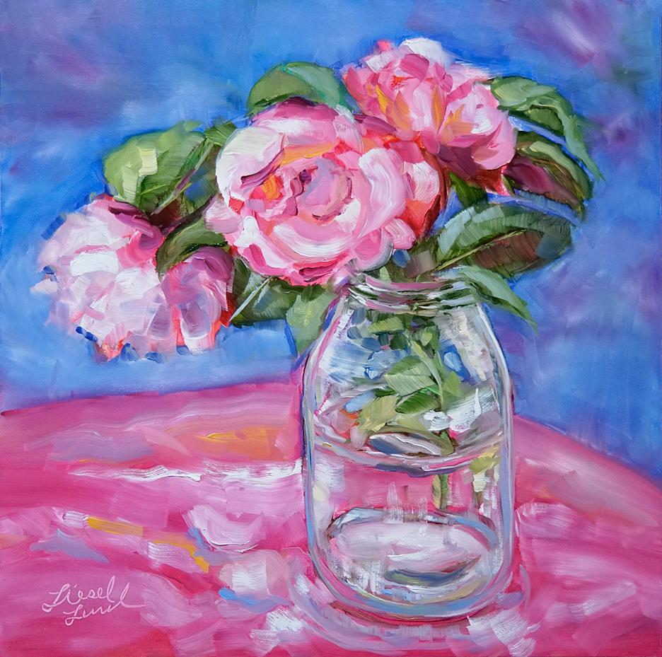 Bouquet-Pink-Roses-pink-cloth-clear-jar,-blue.jpg