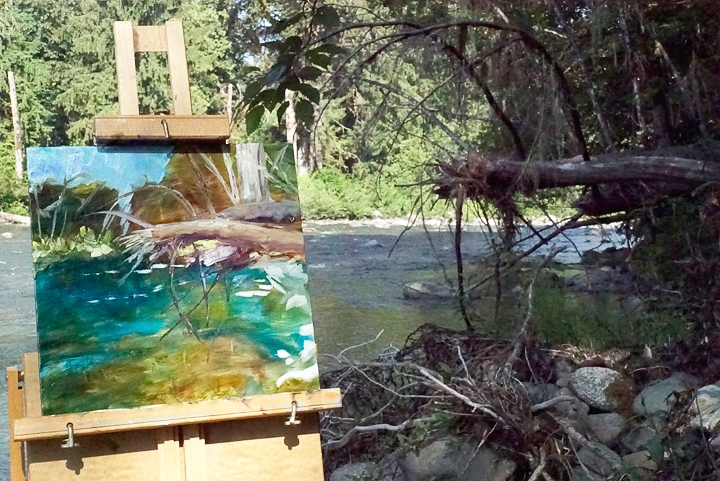 Painting in progress. Next to the South Fork of the Stillaguamish River.