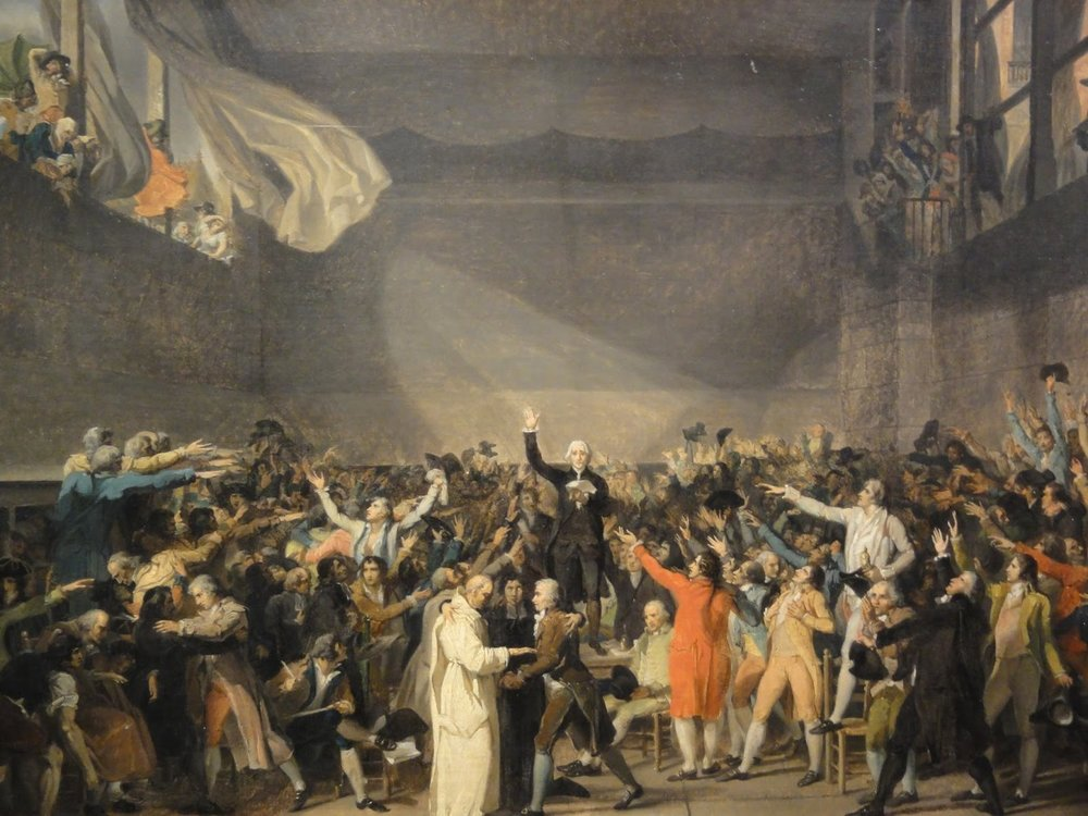 Commoners storming the Bastille.