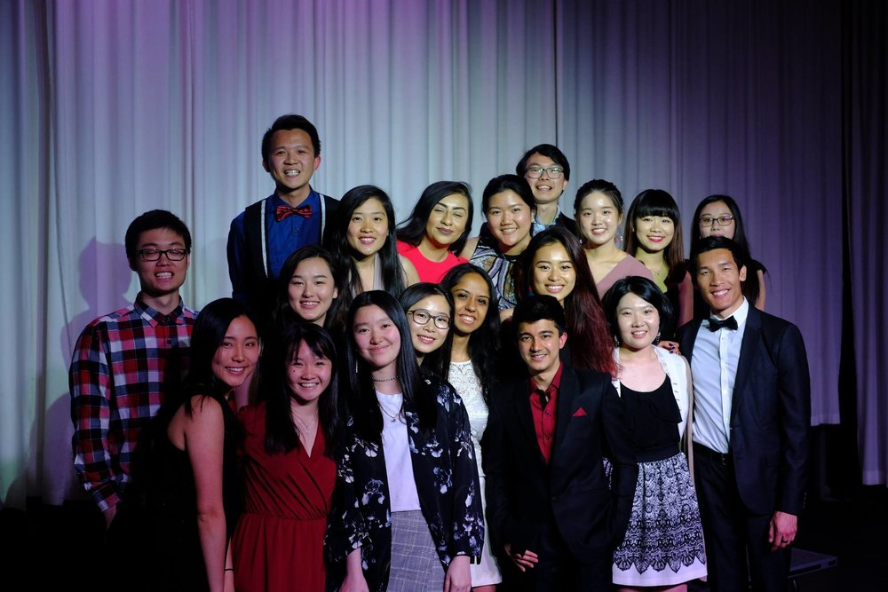 Nikki (front row, second from left) with other student office staff/interns, student board members, and facilitators at the Blue Marble Bash fundraiser for FIUTS in April 2018