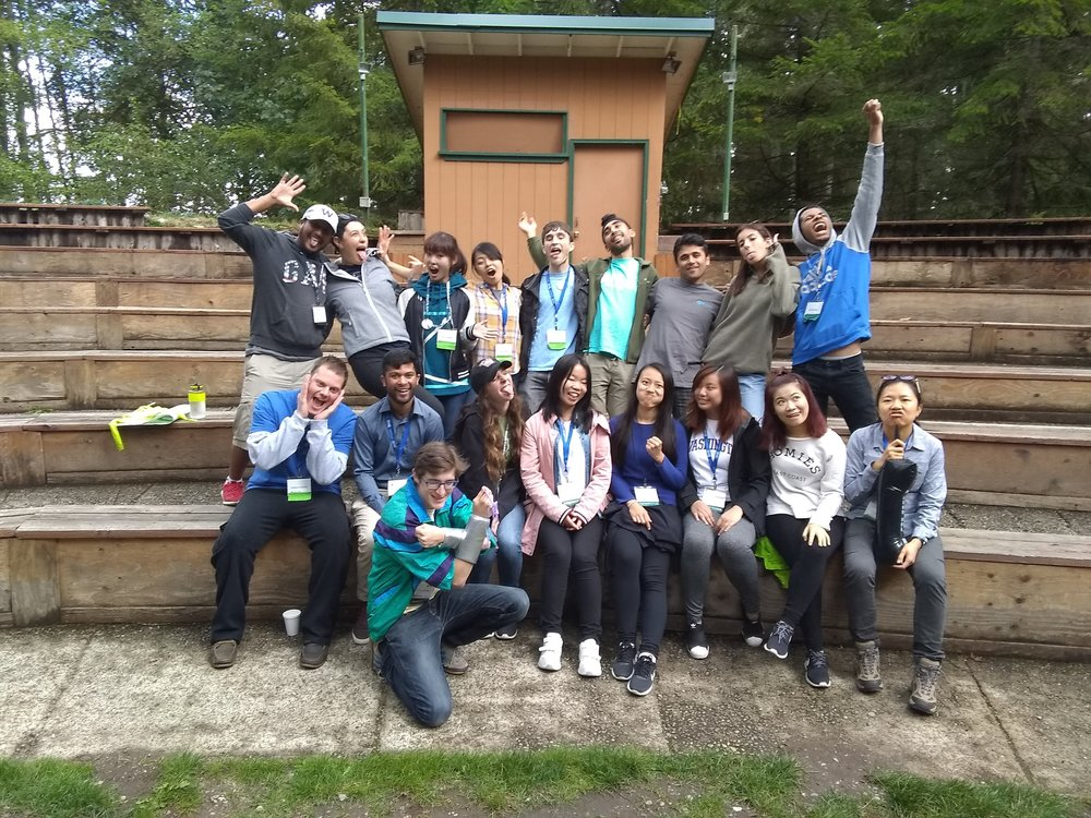 Keivon, far right back row, and fellow facilitators at FIUTS Camp 2018