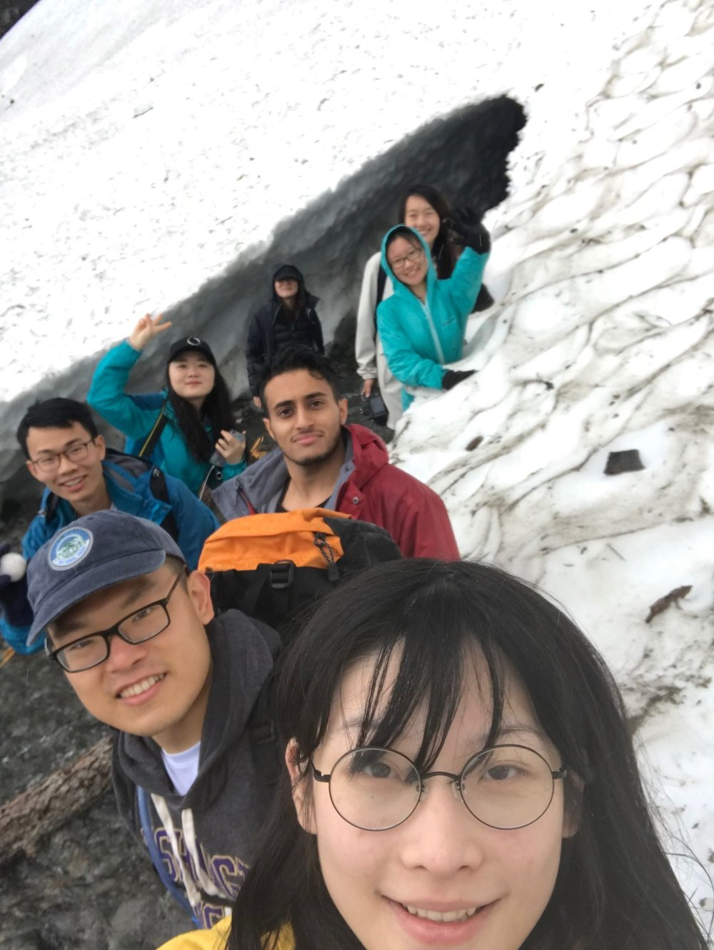 Group selfie at Big Four Ice Caves