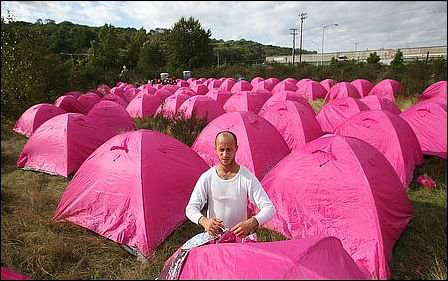 Seattle's Nickelsville Encampment sporting pink tents to draw political attention to their plight. 2008