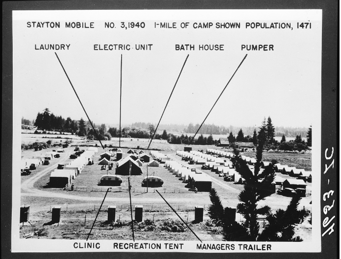 A Federal Transient Camp near Kalamath Oregon. Photo credit: Dorothea Lange.