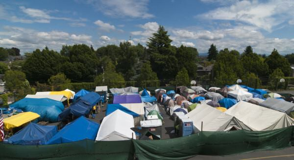 Tent City 3. A legal camp that rotates between church parking lots in the suburbs of Seattle Kings County, Washington.
