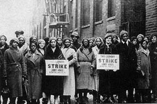 Black and white union maids striking in the 1930s.