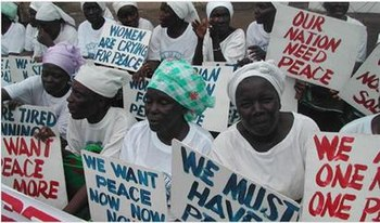 Women protesting for peace in Liberia