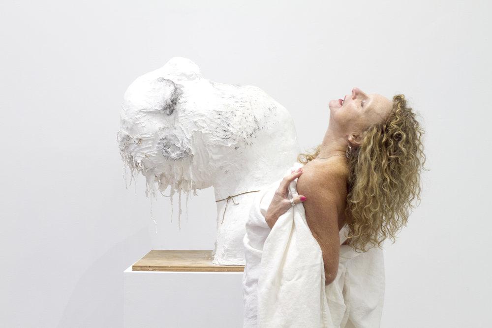 Nicole Eisenman,  Sleeping Frat Guy , 2013, with model