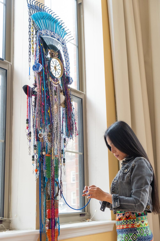 Anne Samat in her studio in Peekskill, NY, 2019.    Photo by Maksim Akelin