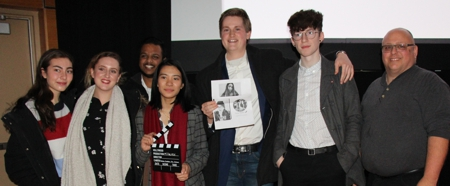 "Cast and Crew of ""Filtered"" - winning First Place, standing with iFilmGroup co-founder Matthew Marshall at WSFF 2019, UWO"