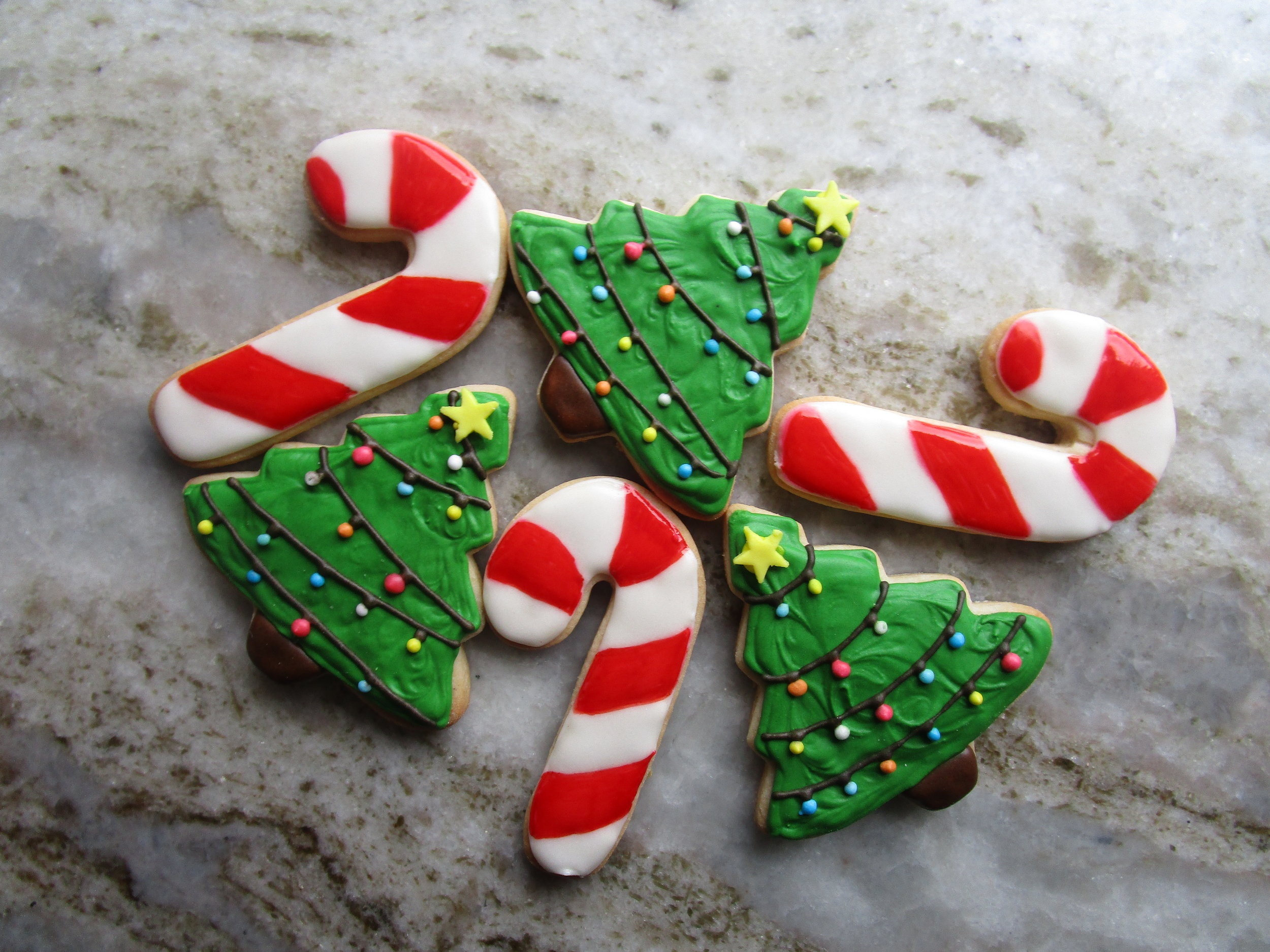 Christmas Tree Candy Cane Sugar Cookies Dozen Sweet Rose Catering