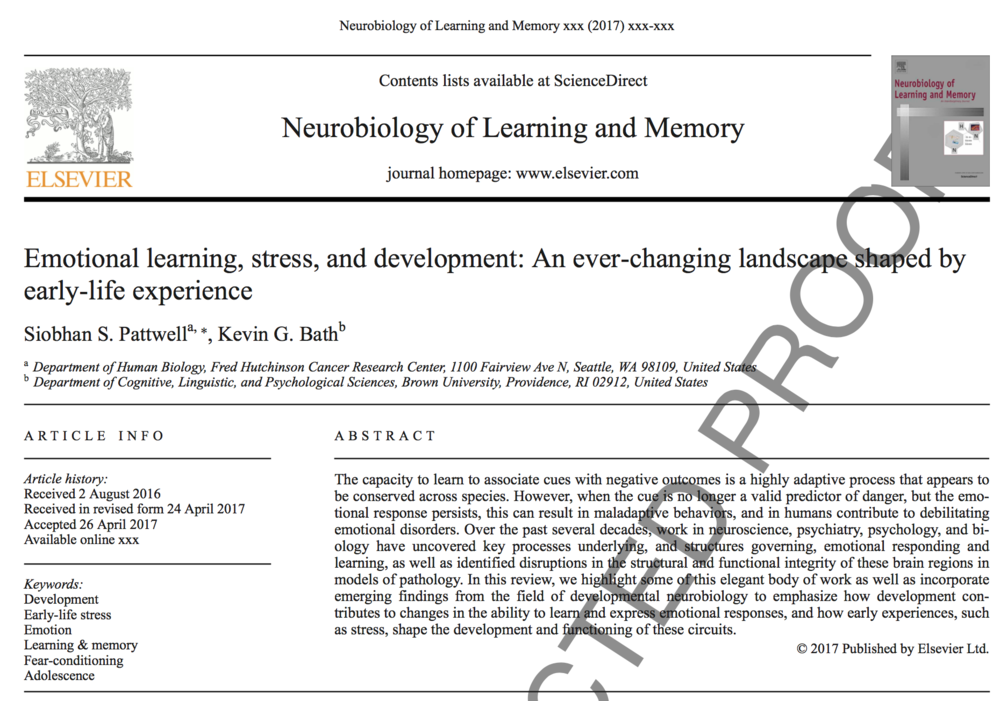 Pattwell et al., 2017.     Neurobiology of Learning & Memory.