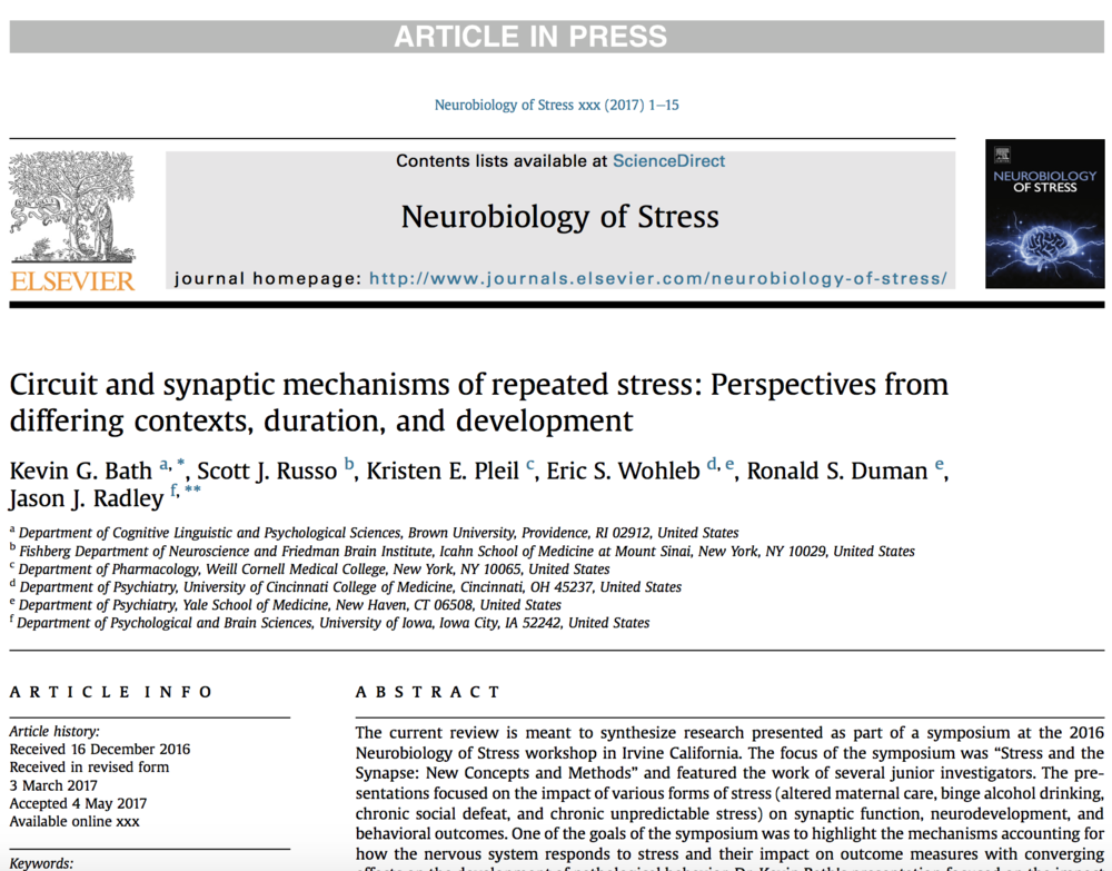 Bath et al., 2017a.   Neurobiology of Stress.