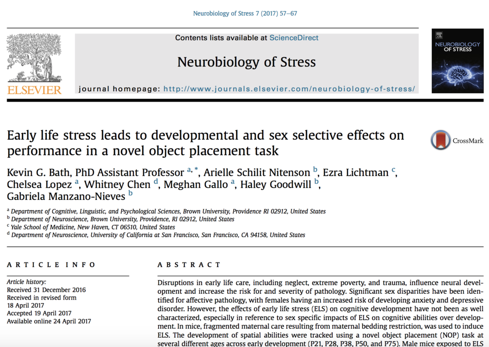 Bath et al., 2017b.   Neurobiology of Stress.