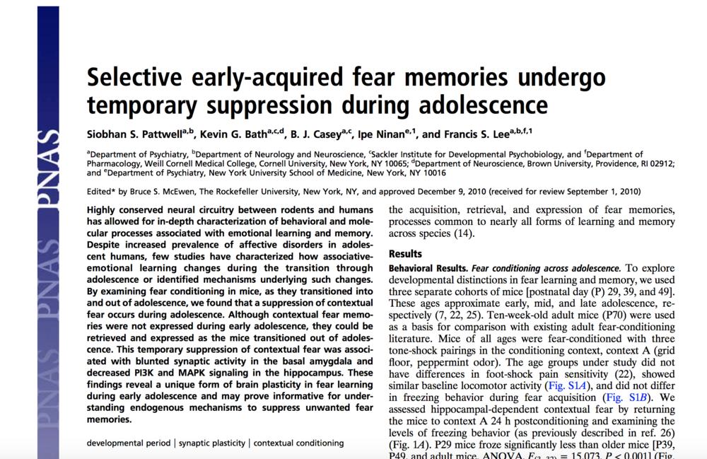 Pattwell et al., 2011.     PNAS.