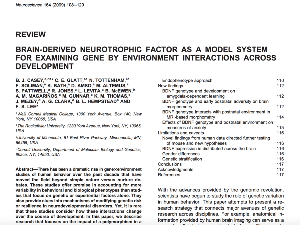 Casey et al., 2009.   Neuroscience Reviews.