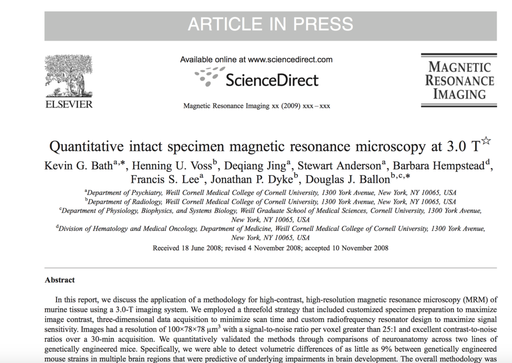 Bath et al., 2009.   Magnetic Resonance Imaging.