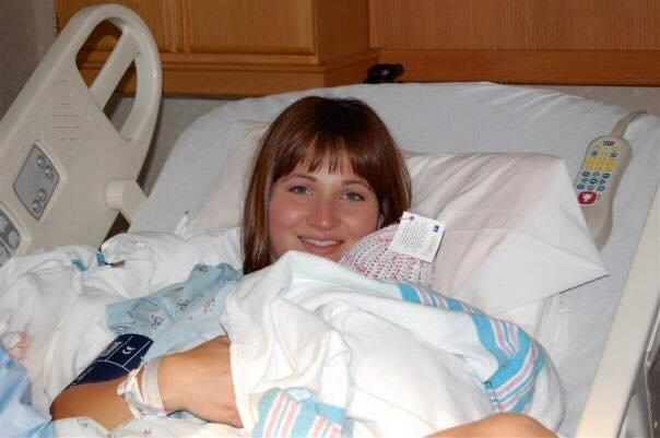 Sarah after giving birth to her second child.